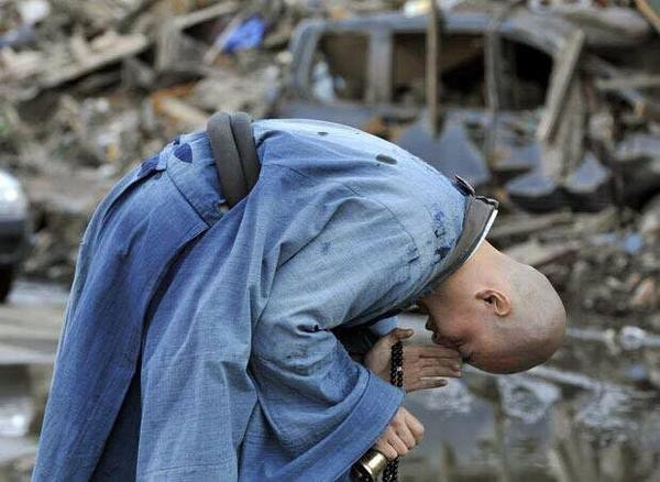 Buddhist monk in blue robe