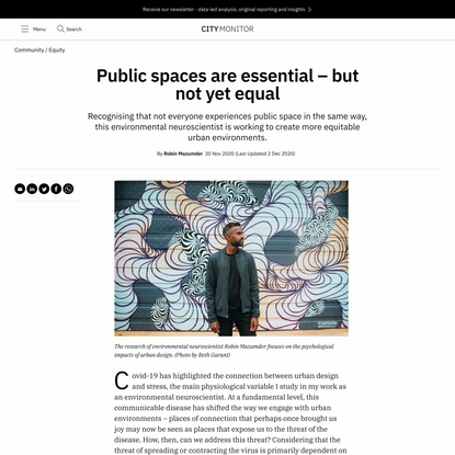 Public spaces are essential – but not yet equal - City Monitor