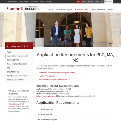 Application Requirements for PhD, MA, MS