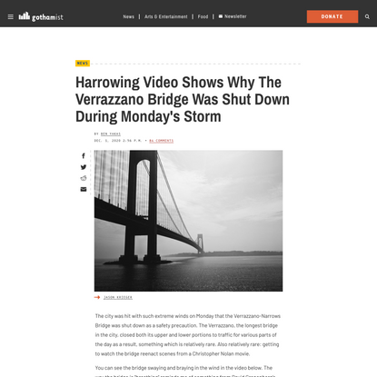 Harrowing Video Shows Why The Verrazzano Bridge Was Shut Down During Monday's Storm