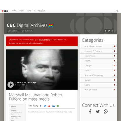 Marshall McLuhan and Robert Fulford on mass media - CBC Archives