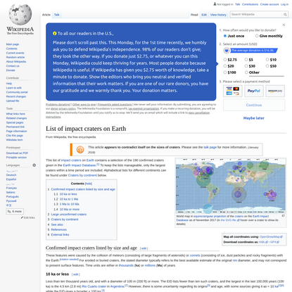 List of impact craters on Earth - Wikipedia