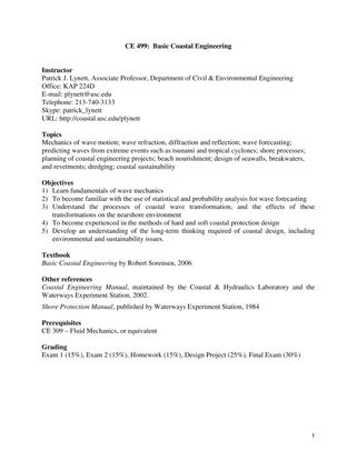 University of Southern California CE499: Basic Coastal Engineering