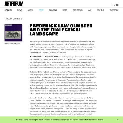 Frederick Law Olmsted and the Dialectical Landscape