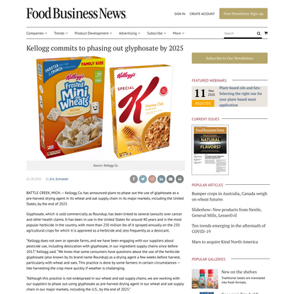 Kellogg commits to phasing out glyphosate by 2025
