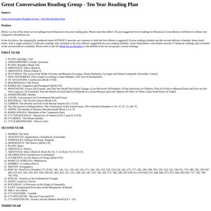 Great Conversation Reading Group - Ten Year Reading Plan