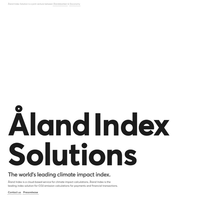 Åland Index Solutions - A game changer tackling climate crisis