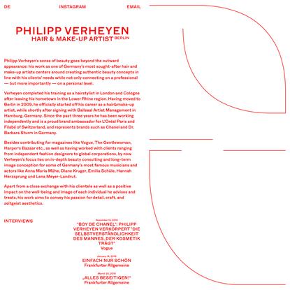 Philipp Verheyen • Hair & Make-Up Artist