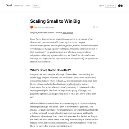 Scaling Small to Win Big