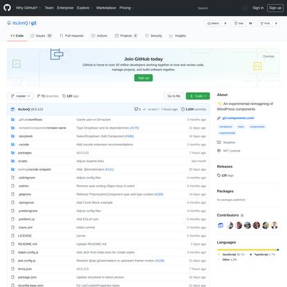 ItsJonQ/g2: ✨ An experimental reimagining of WordPress components