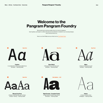 Pangram Pangram Foundry — Free to Try Quality Fonts and Typefaces