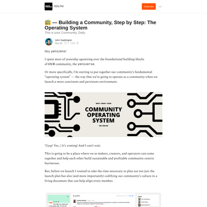 📻 — Building a Community, Step by Step: The Operating System