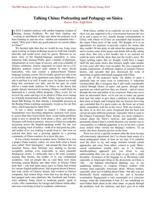 Talking China: Podcasting and Pedagogy on China by Kaiser Kuo (SupChina)
