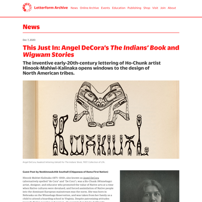 This Just In: Angel DeCora's <cite>The Indians' Book</cite> and <cite>Wigwam Stories</cite>