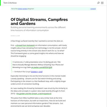 Of Digital Streams, Campfires and Gardens