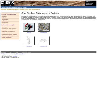 Bedform Sedimentology: ripples, dunes, and cross-bedding - Grain Size from Digital Images of Sediment - USGS PCMSC