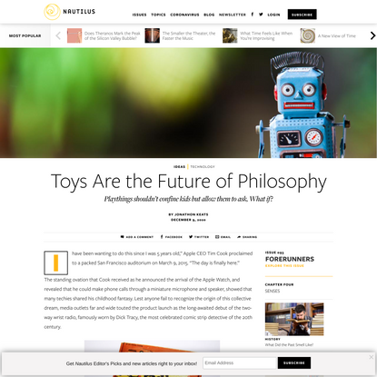 Toys Are the Future of Philosophy - Issue 93: Forerunners - Nautilus