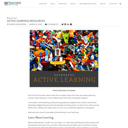 Active Learning Resources – Teaching in Higher Ed