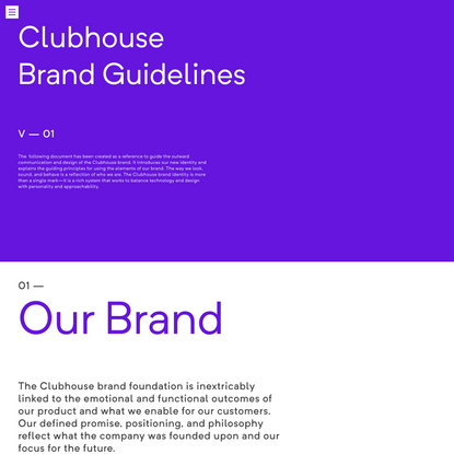 Clubhouse - brand identity, guideline and assets.