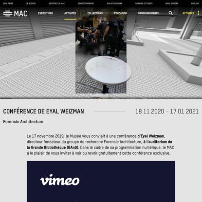 Conférence de Eyal Weizman – MAC Montréal