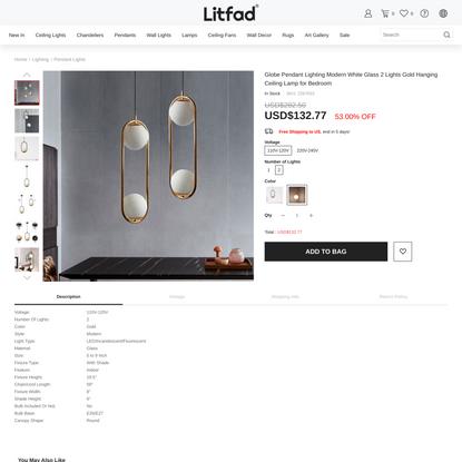Globe Pendant Lighting Modern White Glass 2 Lights Gold Hanging Ceiling Lamp for Bedroom