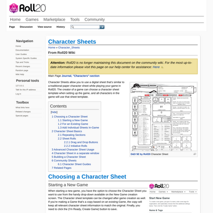Character Sheets - Roll20 Wiki