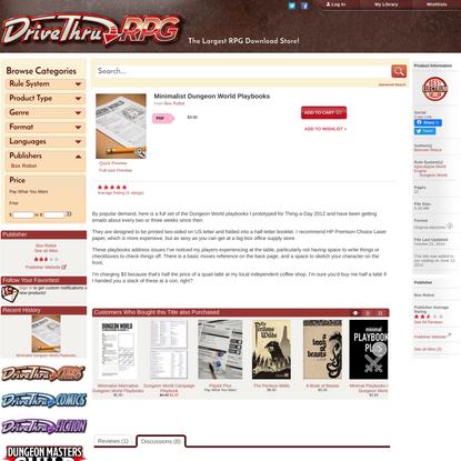 Minimalist Dungeon World Playbooks - Box Robot   DriveThruRPG.com