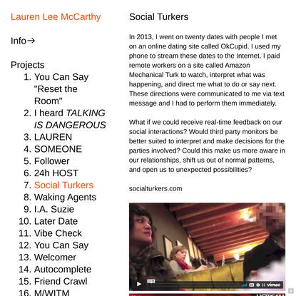 Social Turkers — Lauren Lee McCarthy