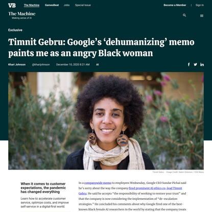 Timnit Gebru: Google's 'dehumanizing' memo paints me as an angry Black woman