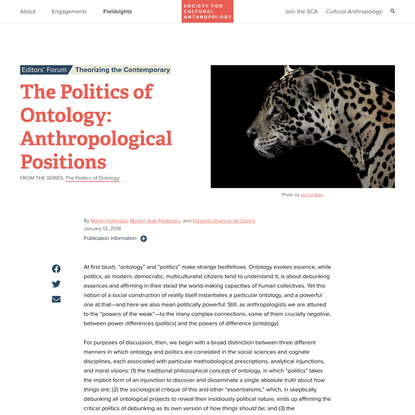 The Politics of Ontology: Anthropological Positions