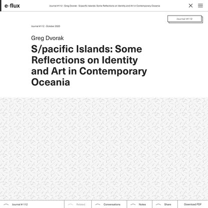 S/pacific Islands: Some Reflections on Identity and Art in Contemporary Oceania