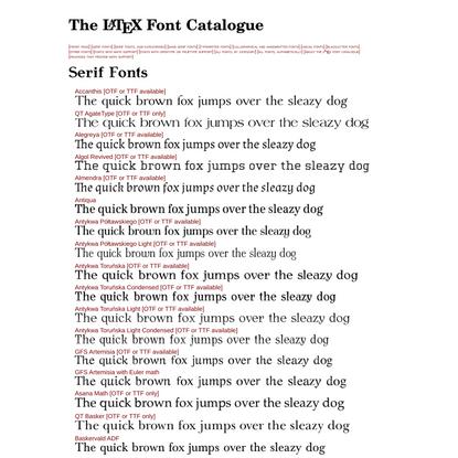 The LaTeX Font Catalogue – Serif Fonts