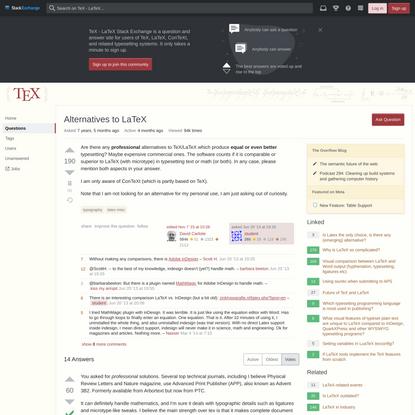 Alternatives to LaTeX