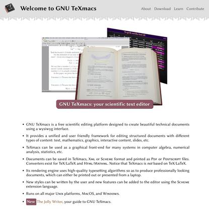 Welcome to GNU TeXmacs (FSF GNU project)
