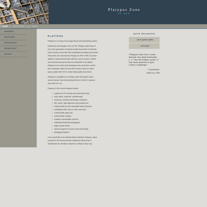 Platypus Page Layout and Typesetting Software