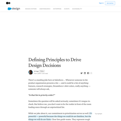 Defining Principles to Drive Design Decisions