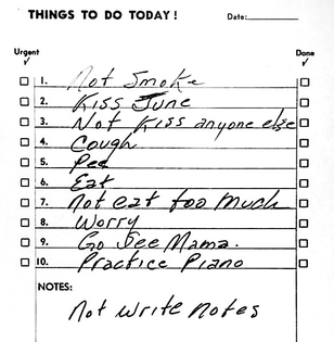 Johnny Cash, to-do list, date unknown via Michael Beruit on Twitter