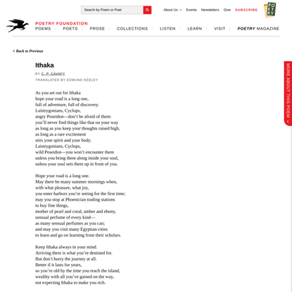 Ithaka by C. P. Cavafy | Poetry Foundation