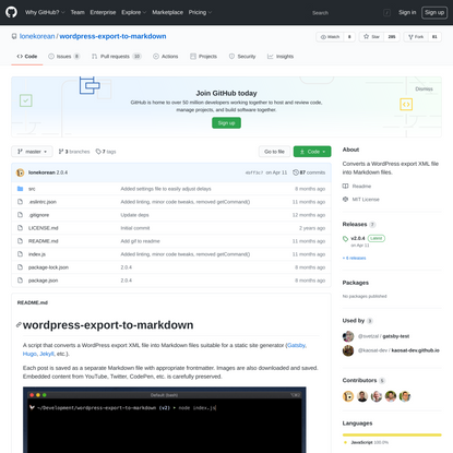 lonekorean/wordpress-export-to-markdown