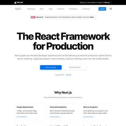 Next.js by Vercel - The React Framework