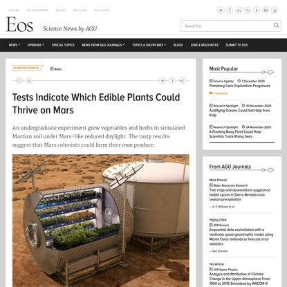 Tests Indicate Which Edible Plants Could Thrive on Mars - Eos