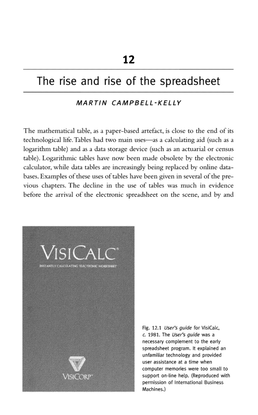 """Martin Campbell-Kelly, """"The Rise and Rise of the Spreadsheet"""""""