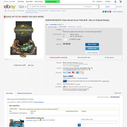 SURVIVOR BUFFS: Palau Brown Koror Tribe Buff - New on Original Display | eBay