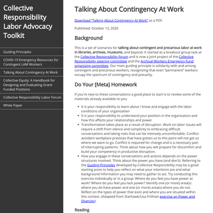 Collective Responsibility Labor Advocacy Toolkit
