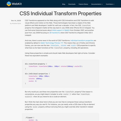 CSS Individual Transform Properties | WebKit