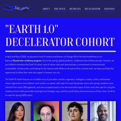 2020 Spring Decelerator Cohort - The Strange Foundation