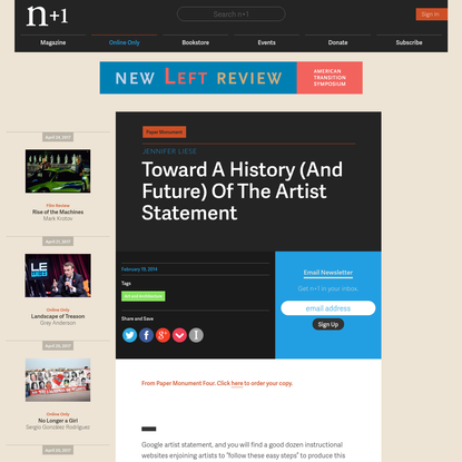Toward A History (And Future) Of The Artist Statement