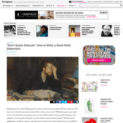 """""""Don't Quote Deleuze"""": How to Write a Good Artist Statement"""