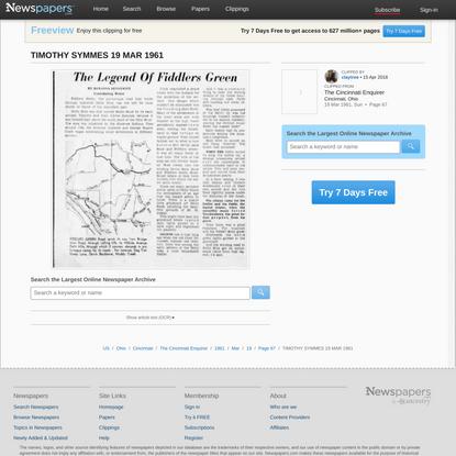 TIMOTHY SYMMES 19 MAR 1961 - Newspapers.com