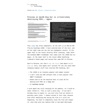 Preview in macOS Big Sur is irreversibly destroying PDFs – again – Annoying Technology
